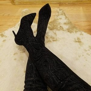 Sexiest Thigh high glitter Boots